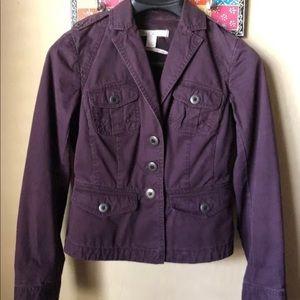 LOFT Purple Blazer Cargo Lightweight Jacket Size 0
